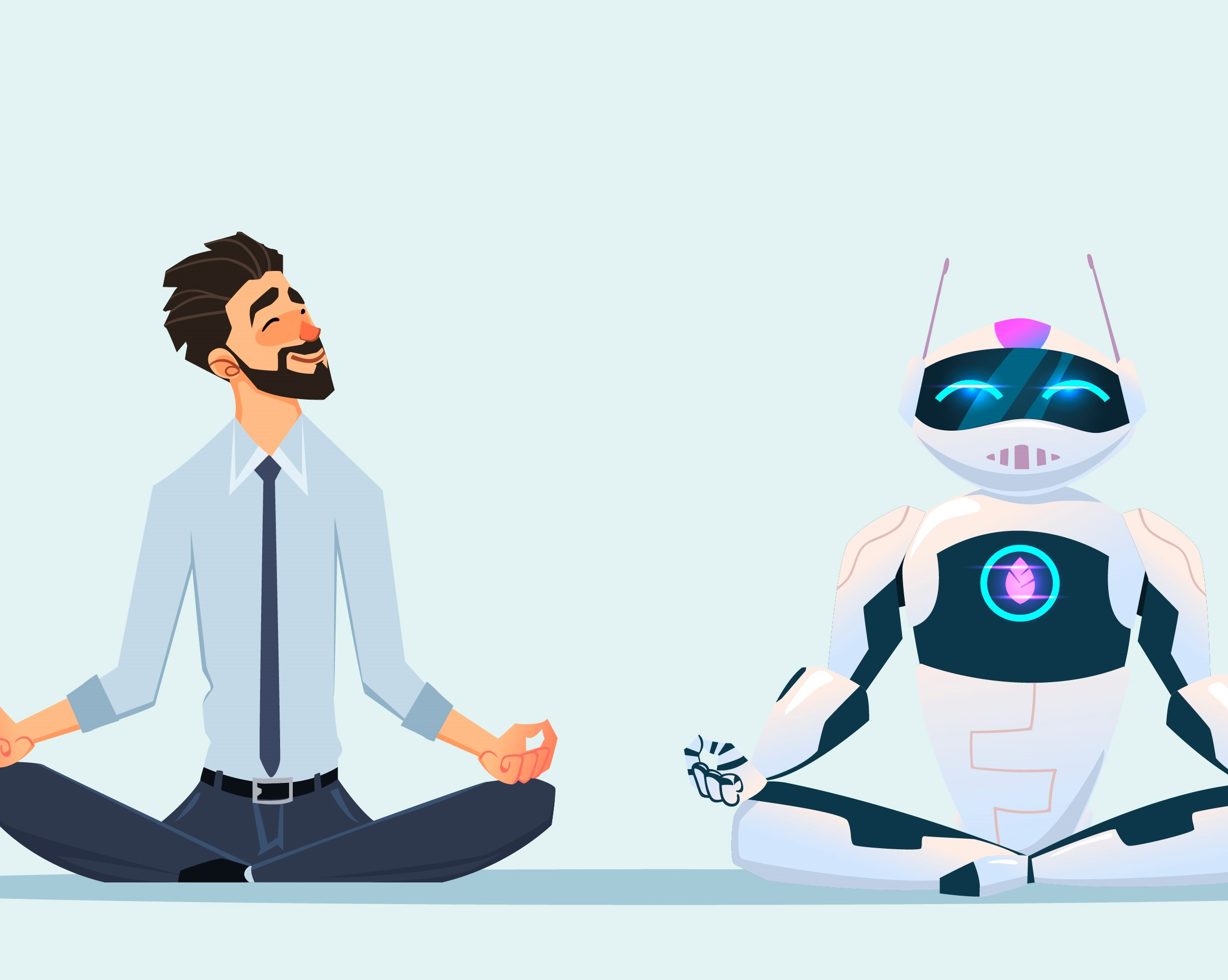 Man and robot doing yoga